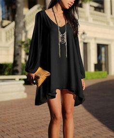 Beautiful Sleeves See Through Chiffon Mini Dress