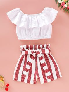 icu ~ Pin on fashion outfits ~ Feb 2020 - Toddler Girls Ruffle Trim Blouse & Striped Print Belted Shorts – Kidenhouse. Teenage Girl Outfits, Crop Top Outfits, Girls Fashion Clothes, Kids Outfits Girls, Summer Fashion Outfits, Cute Outfits For Kids, Cute Summer Outfits, Mode Outfits, Cute Casual Outfits