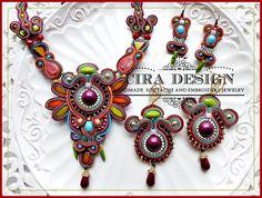 Soutache earrings statement fall colors in by mysweetcrochet