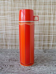 vintage red thermos. KitschCafe on etsy.com