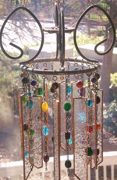 Glass Beaded Wind Chime Hanging by Lightworksartworks on Etsy, $60.00