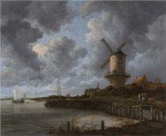 """Tower Mill at Wijk bij Duurstede - Jacob van Ruisdael.  c.1670.  Oil on canvas.  32 3/4 X 39 3/4"""".  Rijksmuseum, Amsterdam, The Netherlands."""