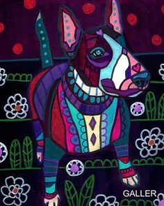 8x10 Miniature Bull Terrier ART Print Poster Dog Painting Heather Galler #HeatherGallerArt