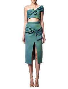 #Maticevski teal crop and skirt combo. #MBFWWishlist  Great color for a holiday party