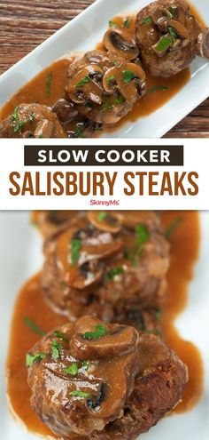 Our Slow Cooker Salisbury Steaks are a tasty throwback to the days when food was a bit simpler and homier. All we did was make it a little more diet-friendly. This recipe requires very little preparation before the slow cooker does its magic. Crock Pot Slow Cooker, Slow Cooker Recipes, Crockpot Recipes, Cooking Recipes, Healthy Dinner Options, Healthy Dinner Recipes, Skinny Recipes, Healthy Tips, Healthy Food