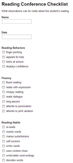Reading Conference Checklist in Google Forms