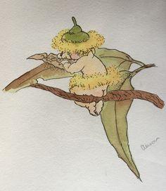 A May Gibbs copy I did for Tia when she was little. Fairies Mythology, Animal Drawings, Art Drawings, Rock Painting Ideas Easy, Australian Art, Flower Fairies, Native Plants, Botanical Art, Tattoo Studio