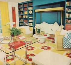 Furniture of the 1970s was full of bright colors, lava lamps, flares and flower power. Patterned prints including geometric shapes and strip...