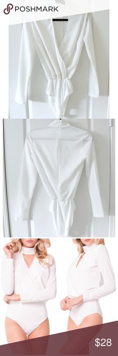 """🆕 White Mock V-Neck Bodysuit Front part that covers breast is NOT see through. White zipper for closure in the back.  ✂️Material: 98% Poly, 2% Spandex  ❗️I DO reserve bundles of three or more items. Just ask, below, in the comment section.👇🏽  ‼️Last two photos are of the ACTUAL item  ⚪️Use the """"Buy Now"""" or """"Add to Bundle"""" button to purchase.  ⚪️MY PRICE IS FIRM. I DO NOT TRADE. I WILL NOT ACCEPT YOUR OFFER. Please respect my business. Thank you.❤️ Jaded Affairs Tops Tees - Long…"""