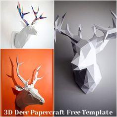 Paper Folding Crafts, Paper Crafts Origami, 3d Paper Art, Paper Artwork, Art Template, Templates Printable Free, Papercraft Download, Geometric Deer, Matchbox Crafts
