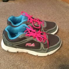 Fila Gym Shoes NWT grey, blue, and pink gym shoes Fila Shoes Athletic Shoes