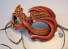 Red Fire Dragon Mask by LisaSell on Etsy, $90.00 resin
