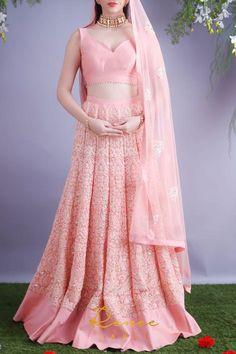 Shop VIVA-LUXE Designer Renee's Blush Pink Lehenga & Choli Set with custom made design & satisfaction guarantee on EVERYTHING. Free UK & India delivery on everything, always.
