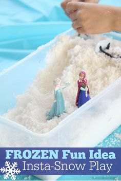 Disney FROZEN fun activity for kids: Pretend Snow Play via momendeavors.com. Perfect for FROZEN parties or just some simple fun at home!