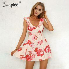 Women s V-neck print backless sexy short dress Ruffle sleeveless sash summer  dress 2018 elegant mini dress 01df44d8cf9b