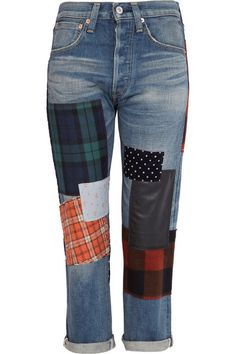 Junya Watanabe  Patchwork cropped jeans $780