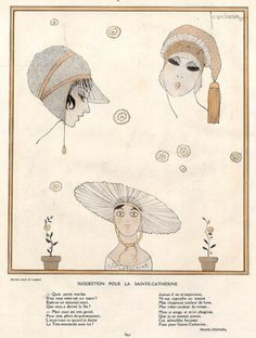 Georges Lepape 1913 Hats for Single Woman aged 25 Catherinettes
