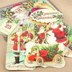 Vintage Christmas Glitter Gift Tags. www.pipii.co.uk has a large selection of retro and vintage gifttags and stamps