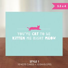 Hot Pink or Faux Gold Foil Cat on Teal // You've Cat to be Kitten Me Right Meow // Flat or Folding Note Card by k8inked