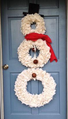 Snowman Wreath  Christmas Wreath  White by JameandJacqsCrafts, $120.00 http://www.etsy.com/listing/177901392/snowman-wreath-christmas-wreath-white?ref=related-1