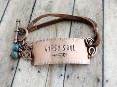 Gypsy Soul Bracelet – Copper and Leather Boho Bracelet – Hippie Jewelry – Boho Jewelry – Feather Bracelet – Bohemian Jewelry - new season bijouterie Jewelry Trends, Jewelry Ideas, Diy Jewelry, Fashion Jewelry, Beaded Jewelry, Gypsy Fashion, Homemade Jewelry, Women's Fashion, Leather Jewelry