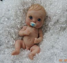 """KASPER"" mini full sculpt movable polymer clay baby art doll OOAK by URSULA"