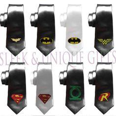 superheroes mens necktie Ties Geek Wedding by SleekandUniqueGifts