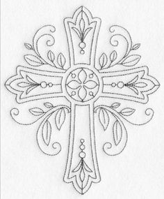 Hand Embroidery Patterns, Ribbon Embroidery, Machine Embroidery Designs, Quote Coloring Pages, Colouring Pages, Coloring Books, Religious Symbols, Religious Cross, Farmhouse Quilts