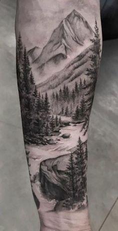Landscape tattoo sleeve forests tat super ideas – tattoos sleeve - Famous Last Words Forest Tattoo Sleeve, Nature Tattoo Sleeve, Forest Tattoos, Mountain Sleeve Tattoo, Forest Forearm Tattoo, Tree Tattoo Sleeves, Tree Sleeve Tattoo, Forearm Sleeve, Tattoo Nature