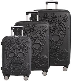 Luggage Sets Collections | IT Luggage Skulls 3 Piece Spinner Set  Black * See this great product. Note:It is Affiliate Link to Amazon. #QualityStylishLuggageSets