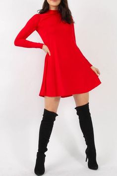 High Neck Swing Dress red