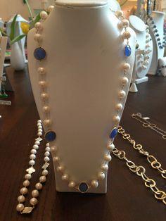 Pearls and blue quartz stones