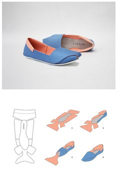 DIY Shoes - could i do this with fabric to make slippers or shoes?UNiFOLD shoes by Horatio Yuxin HanTutorial DIY craft easy simple clever idea…I would like to design and make my own shoes for my final fashion artifact for…DIY Shoes - Neat idea, b Up Shoes, Doll Shoes, Baby Shoes, Funky Shoes, Paper Shoes, Diy Accessoires, Shoe Pattern, How To Make Shoes, Leather Projects