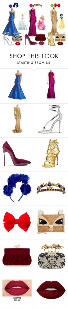 """""""DISNEY PRINCESSES"""" by bexijem ❤ liked on Polyvore featuring Monique Lhuillier, Kay Unger New York, Zuhair Murad, Disney, Casadei, Giuseppe Zanotti, claire's, Betsey Johnson, Wilbur & Gussie and Alexander McQueen"""