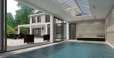 Herenhuis met binnenzwembad zwembad lichtstraat landelijke villa / Brand BBA Architecten