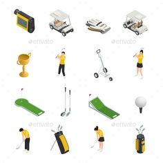 Golf Colored Isometric Isolated Icons - Sports/Activity Conceptual Download here : https://graphicriver.net/item/golf-colored-isometric-isolated-icons/19627517?s_rank=194&ref=Al-fatih