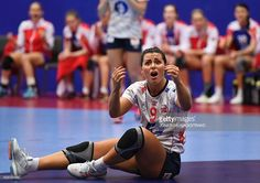 Norway's Nora Mork reacts during the Women's European Handball Championship Group D match between Norway and Russia in Helsingborg, Sweden on December 9, 2016. / AFP / JONATHAN