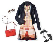 Hazte notar con un vestido con print digital y combínalo con una chamarra de piel.