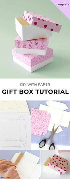 Learn how to make this simple diy gift box - tutorial with template box template Stabile Geschenkbox basteln [Vorlage] Diy Gift Box Template, Paper Box Template, Origami Templates, Origami Box, Origami Paper, Templates Free, Paper Gift Box, Paper Gifts, Diy Gifts With Paper