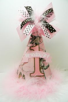 This is a Pink Camouflage party hat made with heavy card stock, trimmed in ribbon and marabou, eyelets with ribbon ties. Personalized for Pink Camo Birthday, Pink Camo Party, Camouflage Birthday Party, Birthday Bbq, 9th Birthday Parties, 1st Birthday Photos, Baby First Birthday, 1st Birthdays, Girl Birthday