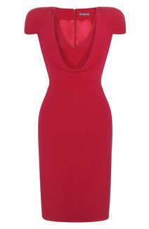 Alexander McQueen RASPBERRY COWL NECK CREPE PENCIL DRESS