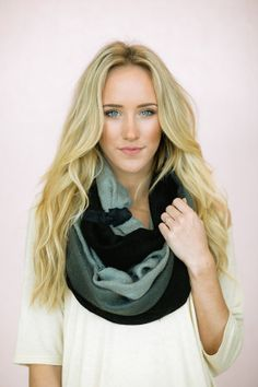 Toggle Ombre Knitted Scarf, Infinity Loop Women's Scarf with Handmade Toggle Leatherette Closure Black GREY on Etsy, $68.00