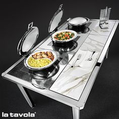 Induction warming table with calacatta pure white high tech decorative tiles and…