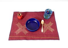 rustic kantha placemats set of 8 indian placemats