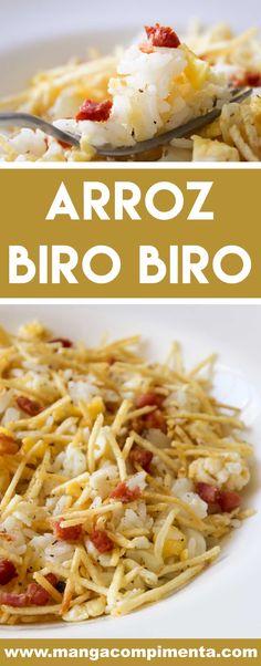 Receita de Arroz Biro Biro – super fácil de fazer, prepare para o seu namorado! Arroz Biro Biro, Low Carb Cheeseburger Casserole, Risotto, Tasty, Yummy Food, Portuguese Recipes, Easy Cooking, Rice Recipes, Food And Drink