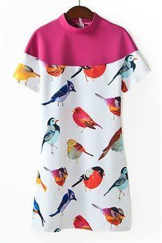 Bird Short Sleeve Dress OASAP.com