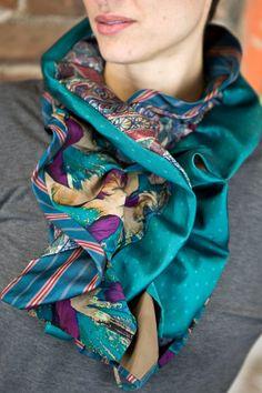 Upcycled Recycled Repurposed Teal Burgundy Purple Tan Elizabethan Ruffle Necktie Scarf by LuluBeas