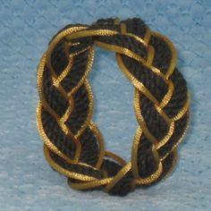 Black Sailor Knot Bracelet Outlined in Gold - medium