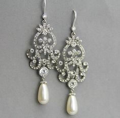 Bridal Earrings Chandelier Wedding Crystal Pearl Dangle