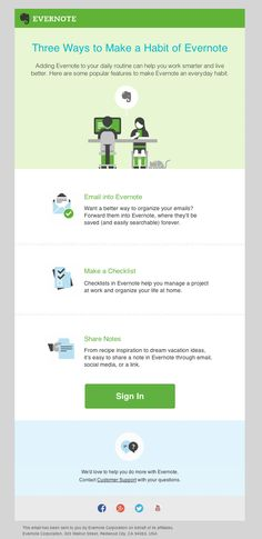 A simple newsletter from Evernote not overpowering or intrusive.